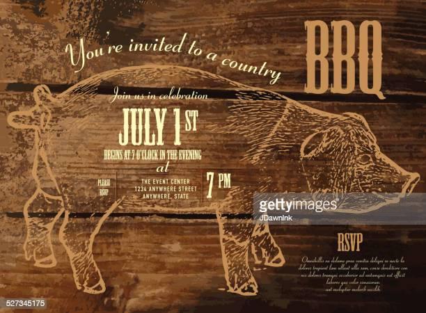 Country BBQ invitation design template