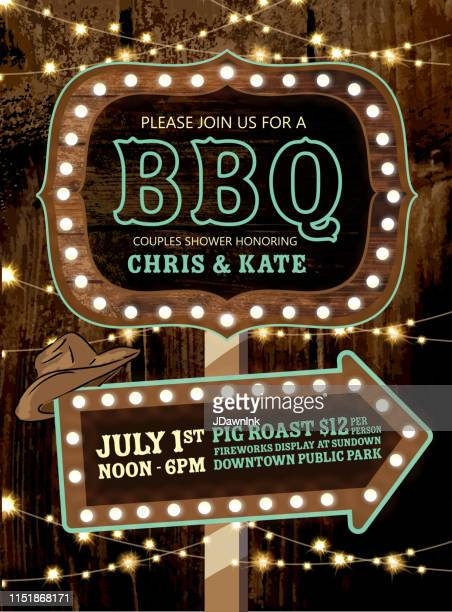 country bbq wedding invitation wooden signs and string lights - country and western stock illustrations