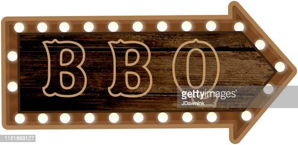 country bbq wooden signboard and lights - music style stock illustrations, clip art, cartoons, & icons