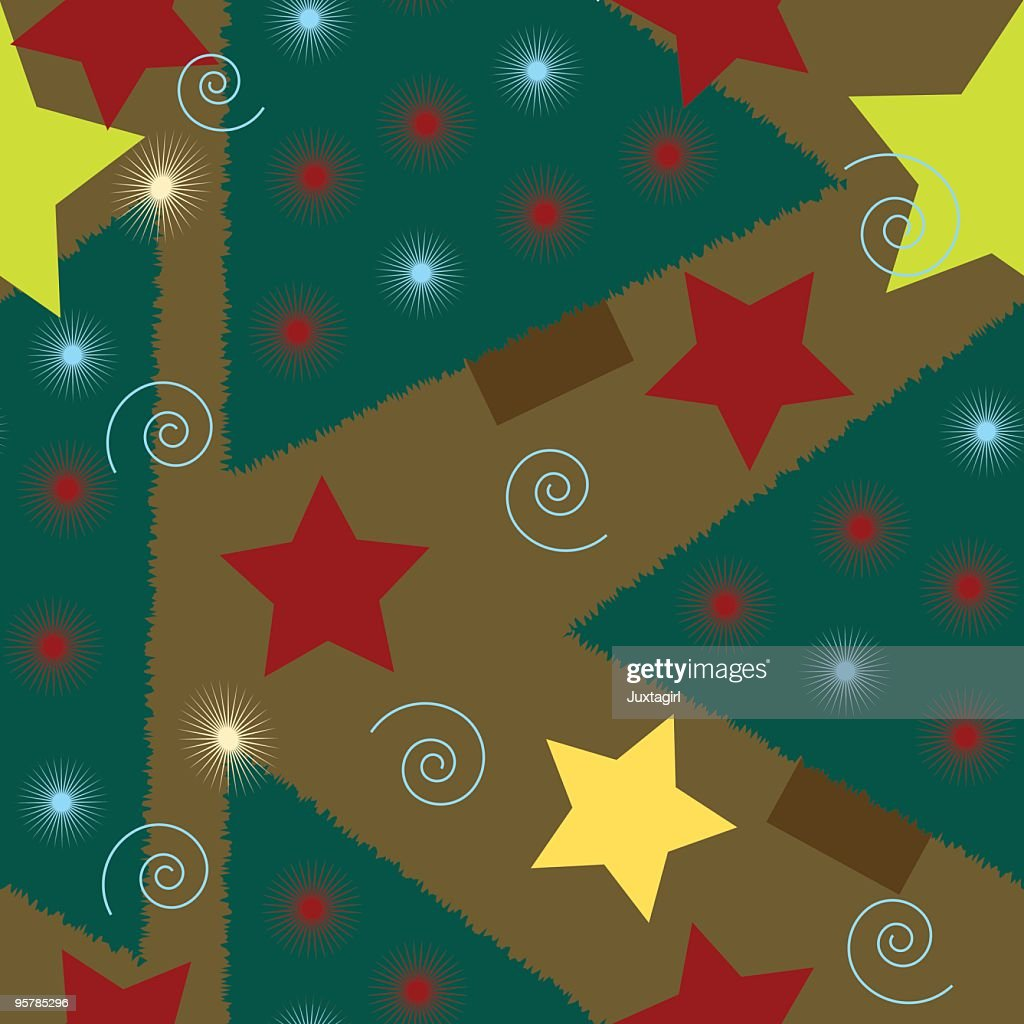 Country Christmas Background.Country Christmas Tree Seamless Background Tile Stock