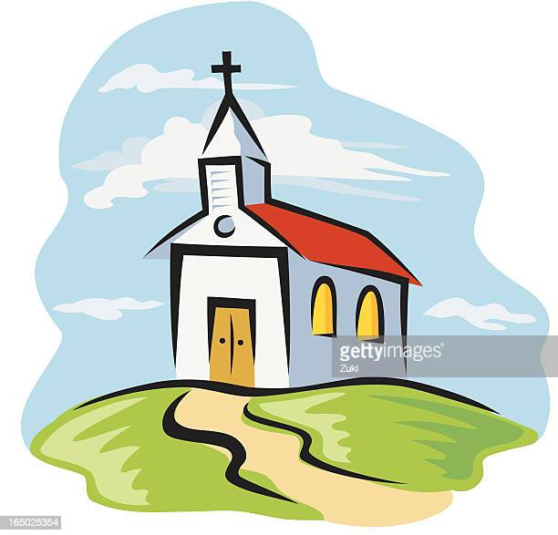 country church - chapel stock illustrations, clip art, cartoons, & icons