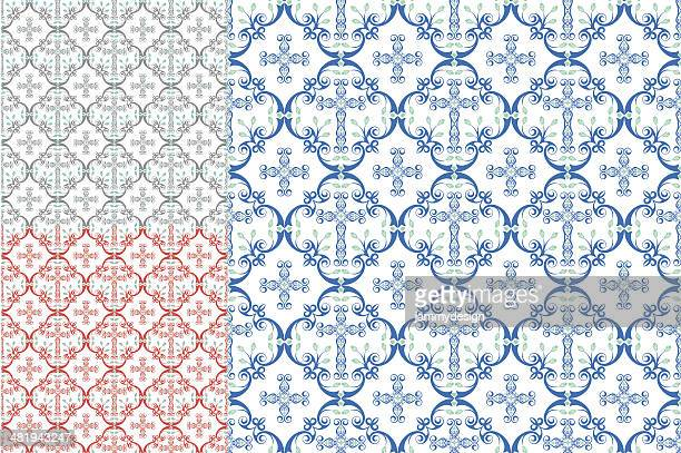 country cross seamless patterns - lace textile stock illustrations