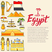 Country Egypt travel vacation guide of goods, places and features. Set of architecture, people, culture, icons background concept. Infographics template design for web and mobile