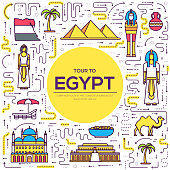 Country Egypt travel vacation guide of goods, places and features. Set of architecture, people, culture, icons background concept. Infographics template design for web and mobile. On thin lines style