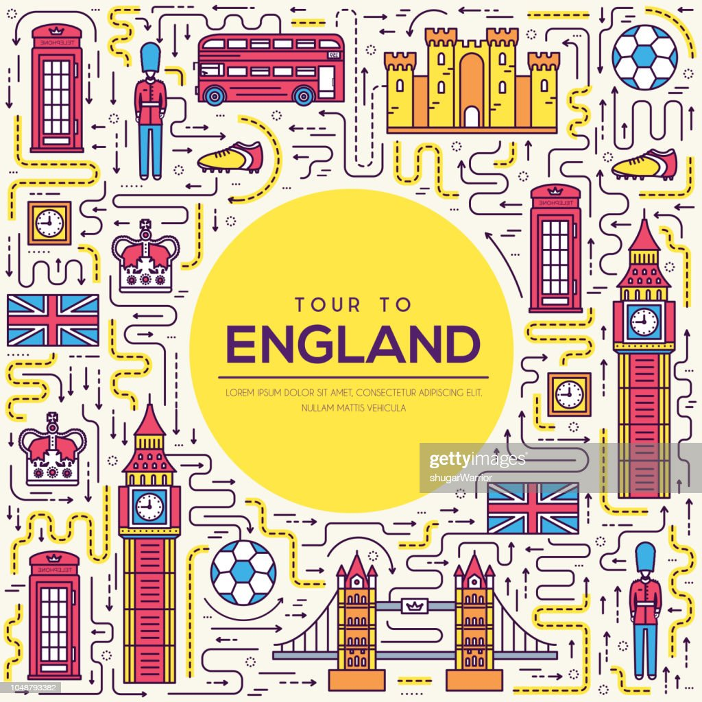 Country England travel vacation guide of goods, place and feature. Set of architecture, fashion, people, item, nature background concept. Infographic traditional ethnic flat, outline, thin line icon