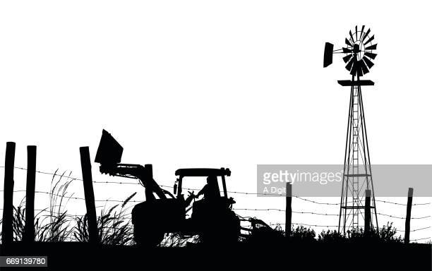 country fields - tractor stock illustrations