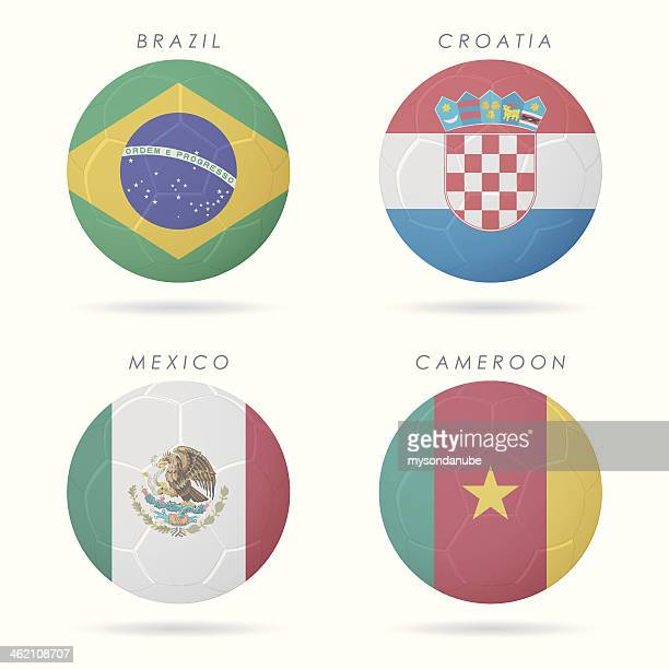 country flags on soccer ball illustration - croatian flag stock illustrations, clip art, cartoons, & icons