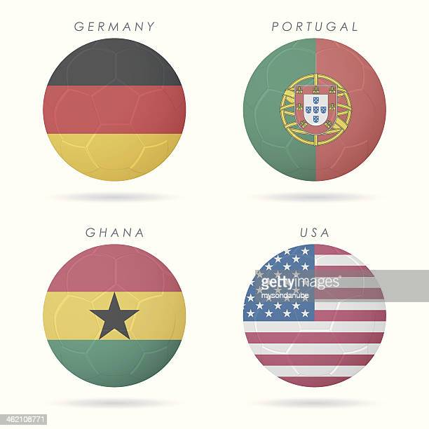 ilustrações, clipart, desenhos animados e ícones de país flags em ilustração de bola de futebol - gana