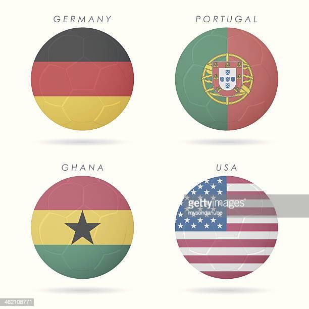 country flags on soccer ball illustration - ghana stock illustrations, clip art, cartoons, & icons