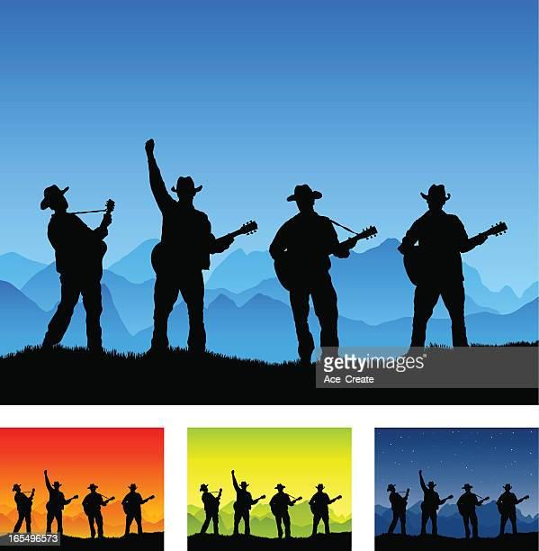 illustrations, cliparts, dessins animés et icônes de guitare country silhouette de groupe jouant à l'extérieur - quatre personnes