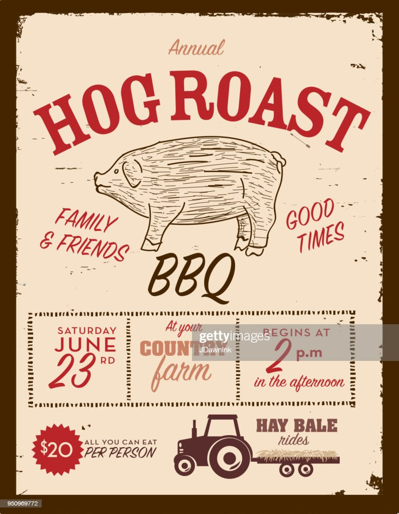 country hog roast invitation design template vector art getty images