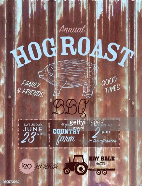 Country Hog Roast invitation design template