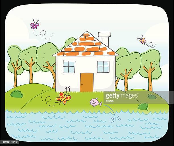 カントリーハウスと湖の漫画