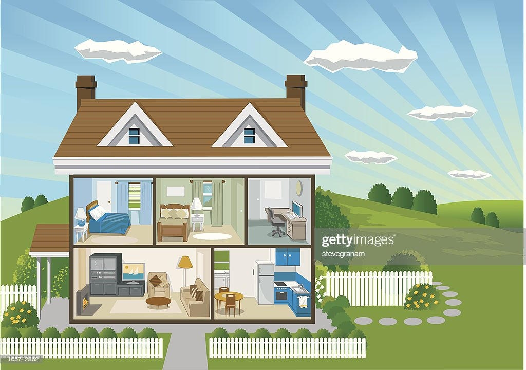 Country House Cross Section : stock illustration