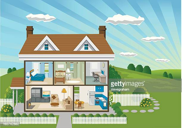 country house cross section - cross section stock illustrations