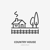 Country house flat line icon. Vector thin sign of summer cottage with trees, suburban property logo. Real estate illustration