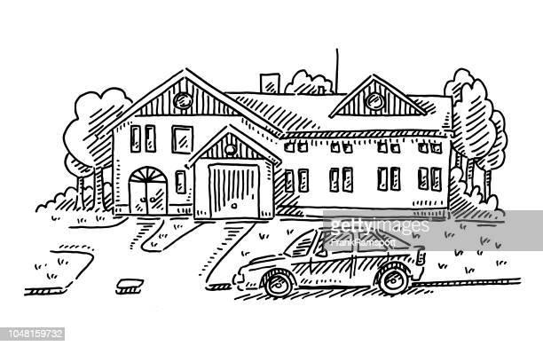 ilustraciones, imágenes clip art, dibujos animados e iconos de stock de país casa patio aparcamiento coche dibujo - calle urbana