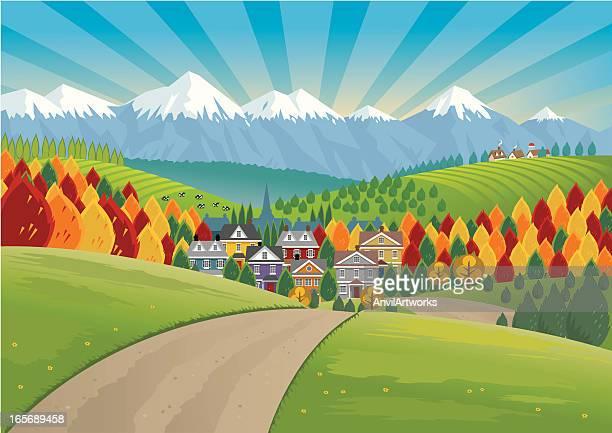 ilustraciones, imágenes clip art, dibujos animados e iconos de stock de casas en valley country - valle