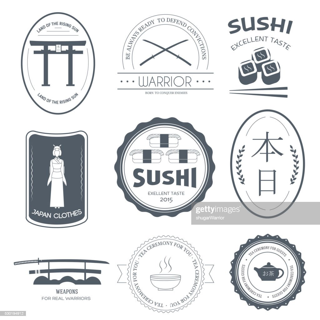 Country Japan label template of emblem element