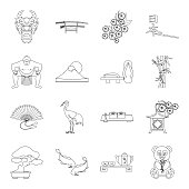 Country Japan outline icons in set collection for design.Japan and landmark vector symbol stock web illustration.