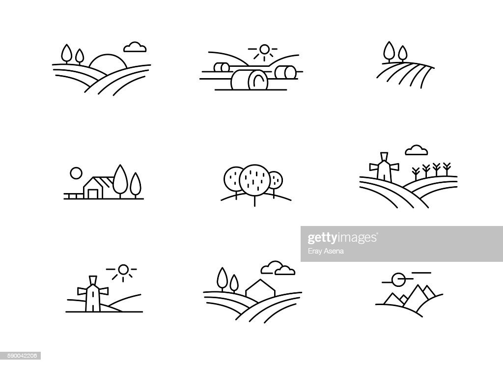 Country landscape icons