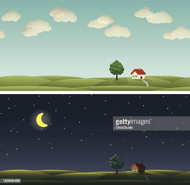 illustrazioni stock, clip art, cartoni animati e icone di tendenza di paese paysage - day