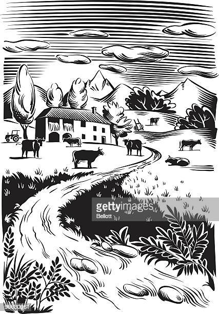 country landscape - woodcut stock illustrations