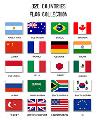 G20 Country Members Flag Collection - Complete