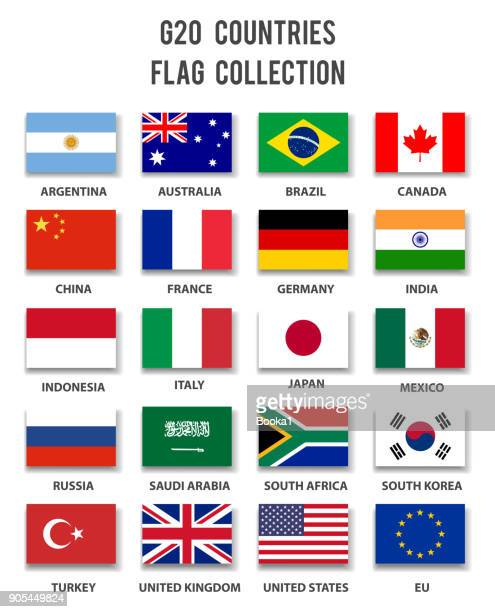 g20 country members flag collection - complete - national flag stock illustrations