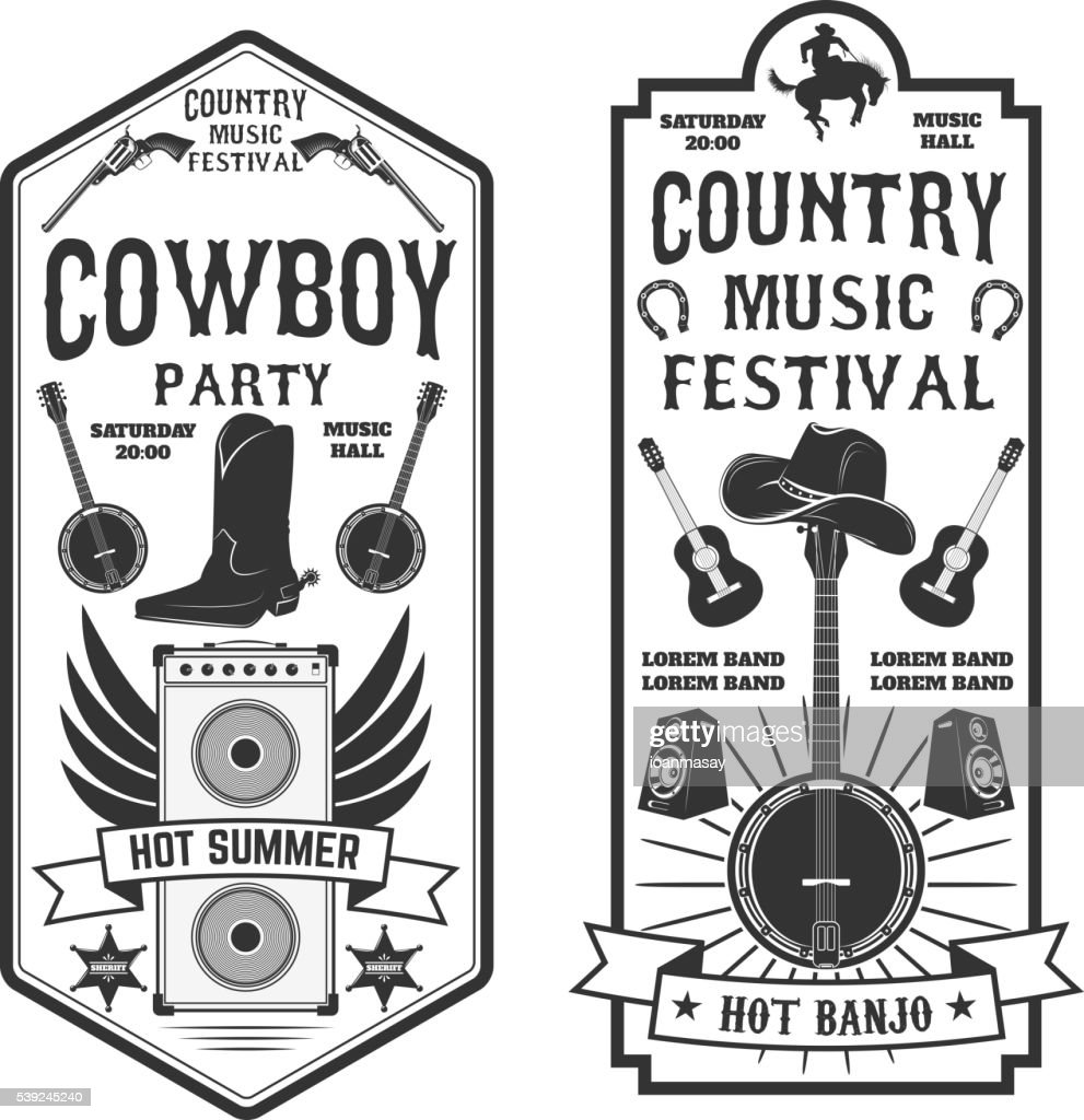Country music festival flyer.  Cowboy party. Western music fest