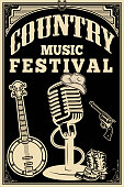 country music festival poster. Old style microphone, cowboy boots, hat, revolver, banjo. Vector design element
