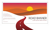 Country road curved highway vector perfect design illustration. The way to nature sunset, hills and fields camping and travel theme. Can be used as a road banner or billboard with copy space for text.