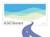 Country road curved highway vector perfect design illustration. The way to nature, hills and fields camping and travel theme. Can be used as a road banner or billboard with copy space for text.