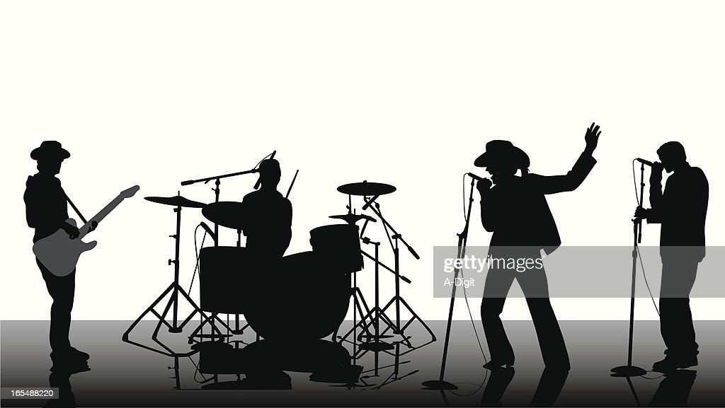 Country Rock Band Vector Silhouette stock illustration ...