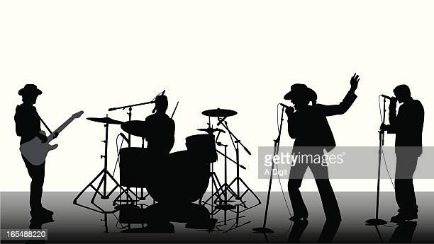 country rock band vector silhouette - snare drum stock illustrations, clip art, cartoons, & icons
