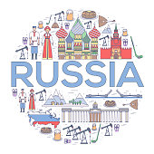 Country Russia travel vacation guide of goods, places and features. Set of architecture, people, culture, icons background concept. Infographics template design for web and mobile. On thin lines style