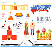 Country Russia travel vacation guide of goods, places and features. Set of architecture, people, culture, icons background concept. Infographics template design for web and mobile. On flat style