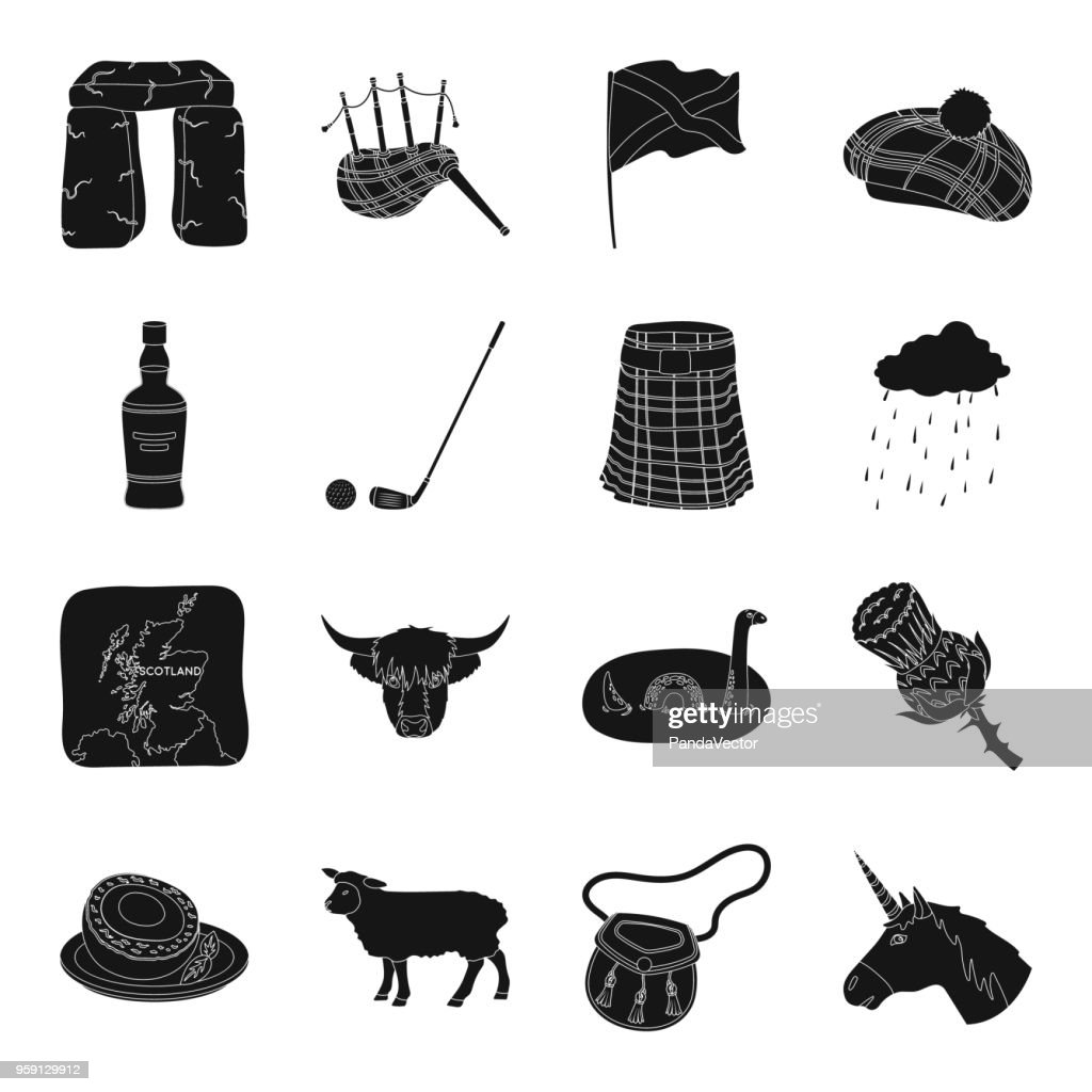 Country Scotland black icons in set collection for design. Sightseeing, culture and tradition vector symbol stock web illustration.
