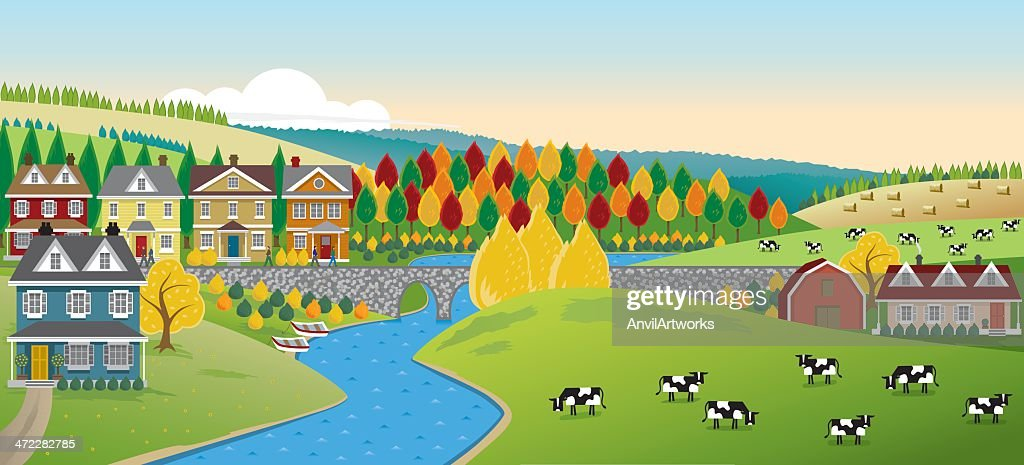 Country Town Panorama : stock illustration
