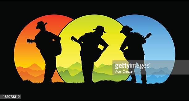 country trio - folk music stock illustrations