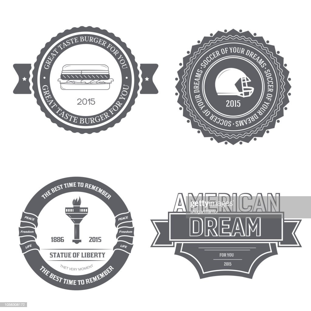 Country USA England label template of emblem element for your product or design, web and mobile applications with text. Vector illustration with thin lines isolated icons on stamp symbol
