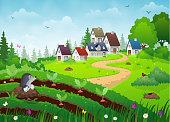 Country village landscape