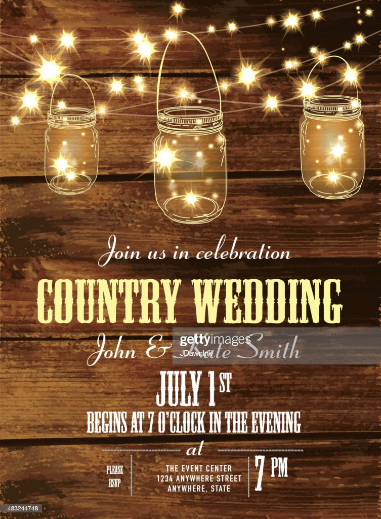 Country Wedding Invitation Design Template Jar And String Lights - Rustic country wedding invitation templates