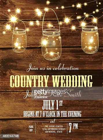 Country Wedding Invitation Design Template Jar And String Lights Vector Art Getty Images