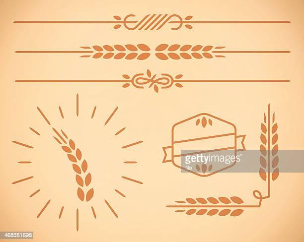illustrazioni stock, clip art, cartoni animati e icone di tendenza di grano country naturale confine e gli elementi di design - separazione