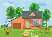 Country wooden eco house with fruit trees. Vector illustration.
