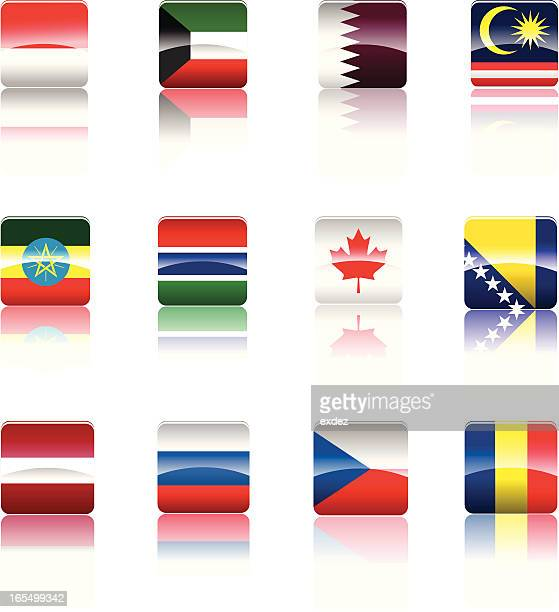 country's national flag collection. - qatar stock illustrations, clip art, cartoons, & icons
