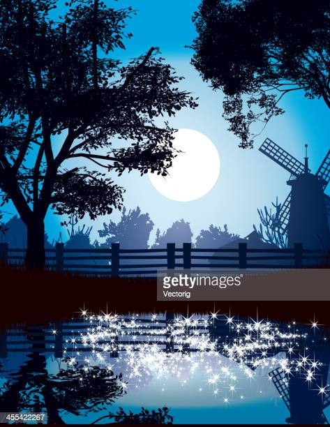 countryside at night - ranch stock illustrations