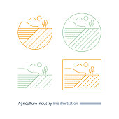 Countryside landscape, agriculture field line icon, furrow, thin stroke illustration
