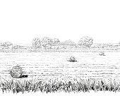 Countryside landscape sketch design silhouette. Hand drawn vector illustration